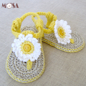 Baby Girl Summer Knitted Sandals Lemon Yellow With White Daisy Infant Slippers 100% Cotton