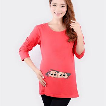 b4c88fca8 Fashion Maternity Clothes Pregnancy Clothes T-Shirt Preggo Long Sleeve  Plain Shirt for women twins