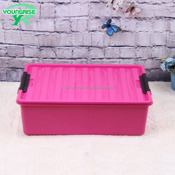 Large Clothing Storage Container Flat Plastic Storage Boxes With Lid