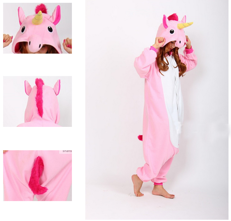 2015 New !!! Christmas Halloween Pink Candy Unicorn Onesie Carnival Costumes for Adults Women Fleece Party Pajamas Dresses