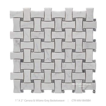 Dog Bone Design Mugworth Blue And White Carrara Marble Mosaic Basket Weave Tile For Floor