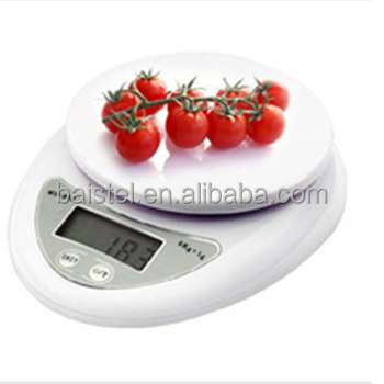 Digital Kitchen Scale Food Compact LCD Display Electronic Weighing Scale 5Kg x 1g