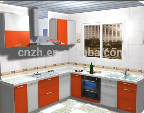 Used Orange Wooden Mdf Kitchen Cabinet Color Combinations For Home Furniture Factory Price Directly