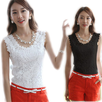 2015 Plus Size XXL Summer Women Blouse Lace Vintage Sleeveless White Black Crochet Casual Shirts Tops