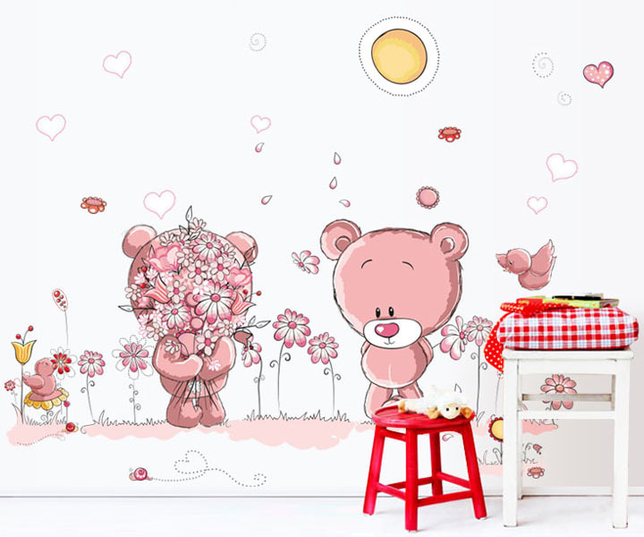 Sad Bear Poor Bear Wall Sticker Creative Wallpaper Removable Home Decal Decoration CT144
