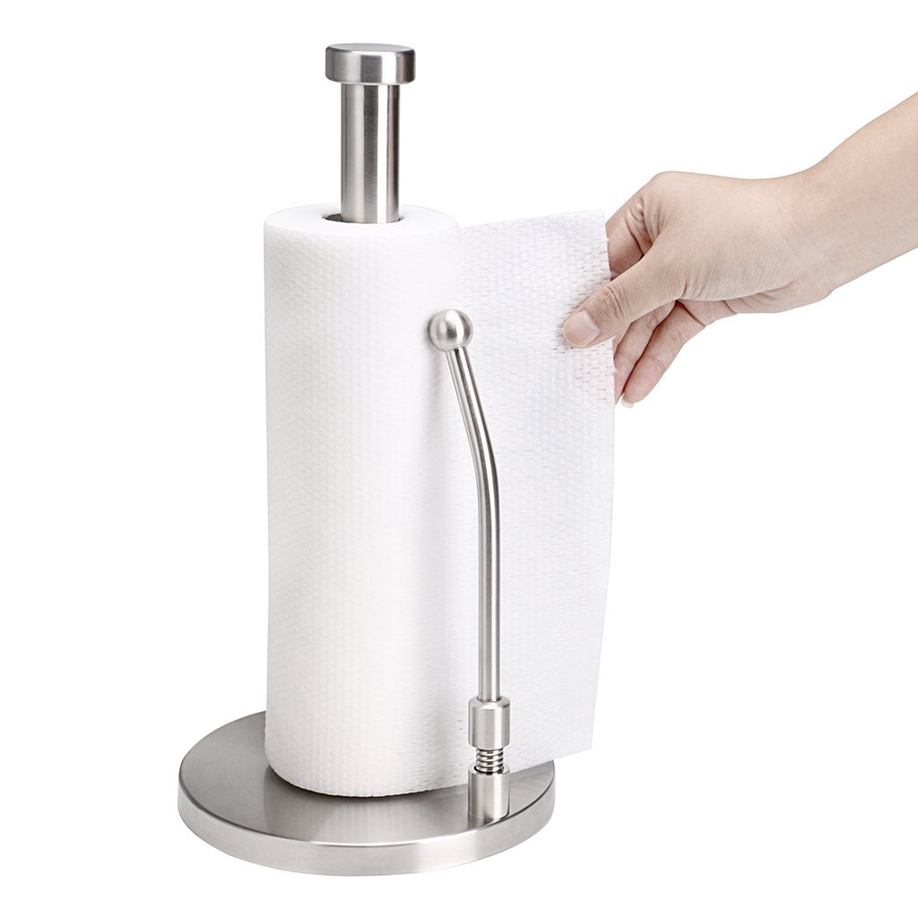 Sumnacon Tension Arm Paper Towel Holder - Stainless Steel Standing Kitchen Paper Towel Holder, Modern Antirust Roll Paper Towel Holder Countertop For One Handed Easy Tear Off
