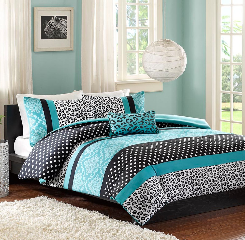 Buy Teen Girls Bedding Damask Leopard Comforter Twin Xl Bedspread Black White Teal Aqua Blue Set Sham Adorable Throw Pillow Home Style Sleep Mask Polka Dot Comforters