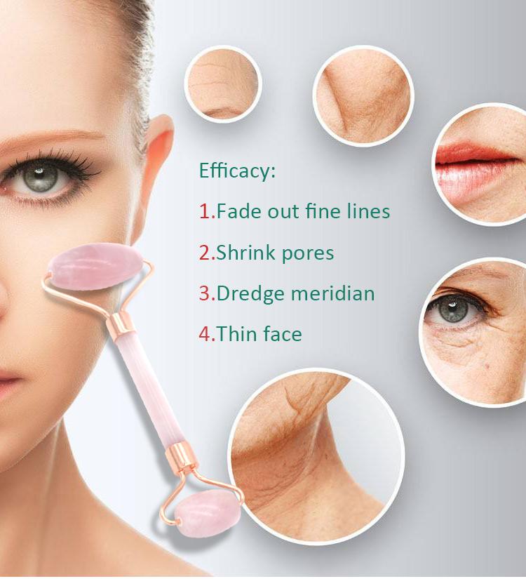 Rose Quarz Roller Jade Gesichts Roller Massager Werkzeug Romantische Weihnachten Geschenk