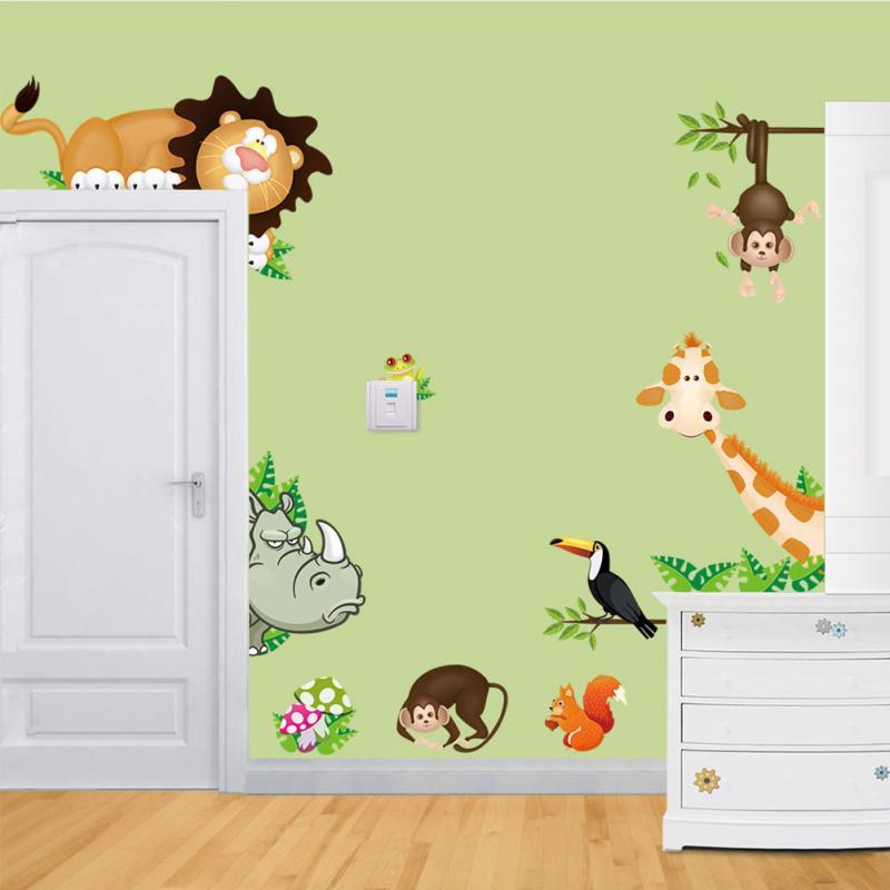 New DIY Cute Jungle Wild Animals Wall Art Decals Kids ...