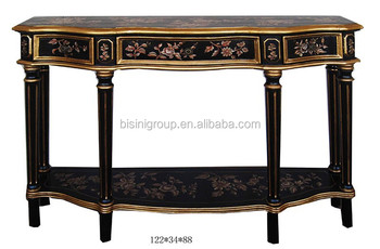 Antique Chinoiserie Style Hand Painted Black Console Hall Table BF11 03281i