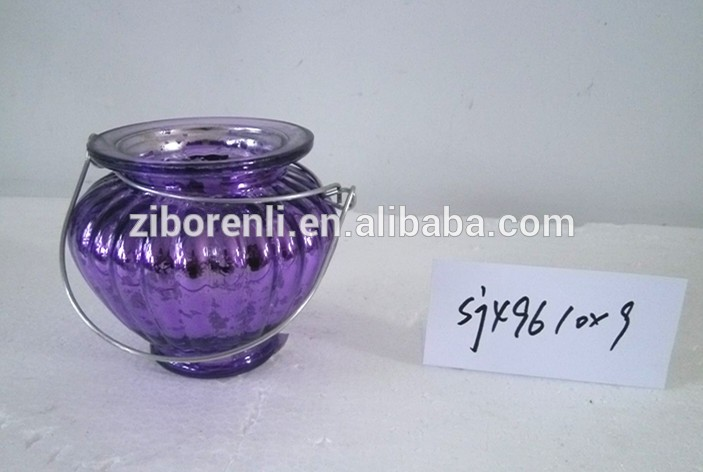 Colored electroplated hanging uinque glass candle jars for Christmas