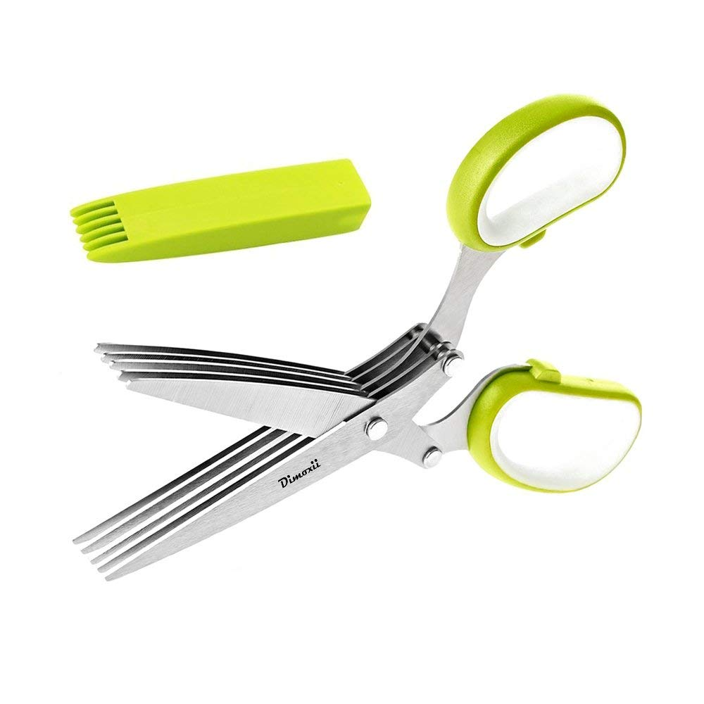 Dimoxii Herb Scissors,Multi-blades Cutting Herbal Scissors Stainless Steel with Cleaning Comb And Protective Cover for Kitchen,Vegetable&Paper