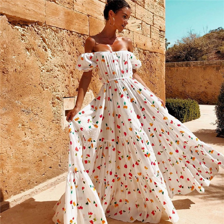 2019 summer latest hot sale style clothes women wholesale fashion high quality lady dress sexy off shoulder flowing dress long