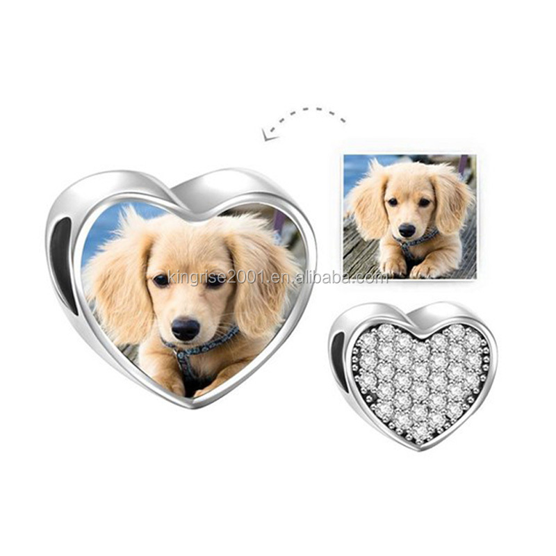 Custom 925 Sterling Silver European Heart Charms With Photo insert beads Gift Personlized charms