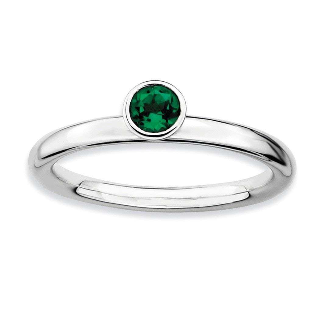 ICE CARATS 925 Sterling Silver High 4mm Round Created Green Emerald Band Ring Stone Stackable Gemstone Birthstone May Fine Jewelry Ideal Gifts For Women Gift Set From Heart