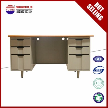 Iron White Office Desk With 6 Drawers Plastic Handles Metal Table