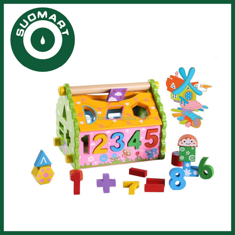 Colorful Digital Wooden Wisdom House Set and Math Early Learning Wooden educational Toys