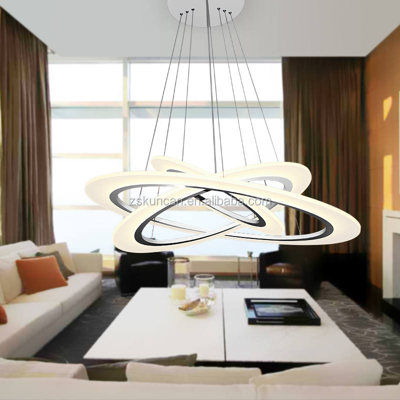 Modern 3 ring chandelier for living room buy circle for Living room 2700k or 3000k
