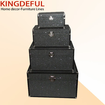 Glitter Black Pu Leather Canvas Drawer Wooden Storage Box