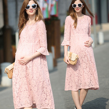 VVM44 High Quality Women Fashion Casual Maternity Clothing Pink Maternity Dress