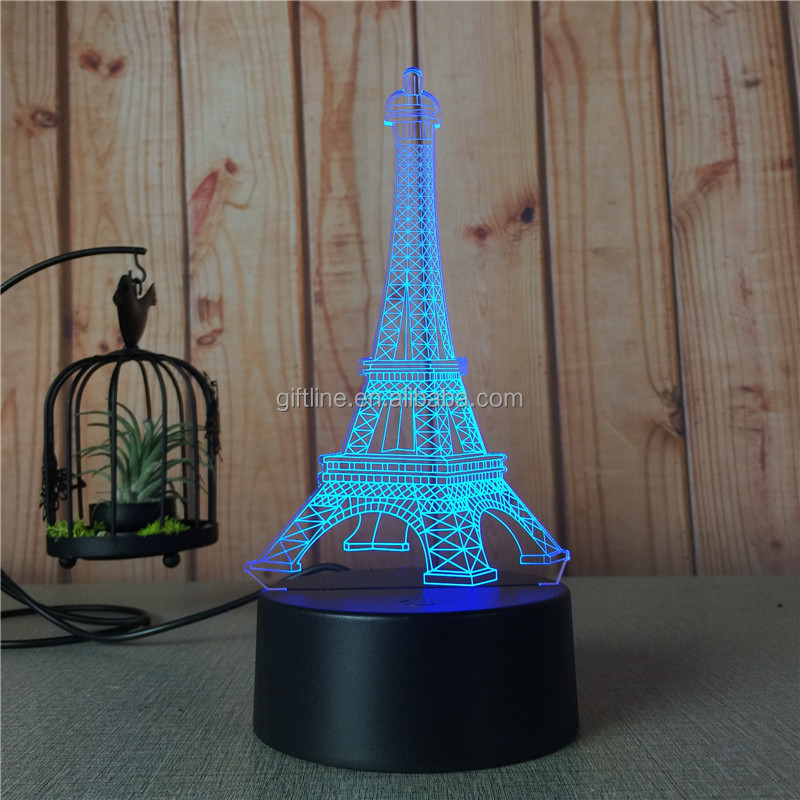Custom The Eiffel Tower Acrylic 7 Colorful 3D Optical Illusion Night Light LED Table Desk Lamp