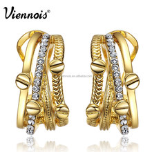 Jewellery factory New Gold Color Women Stud Earrings Rhinestone Multiple Layers Metallic Earrings Female Egyptian Party Jewelry