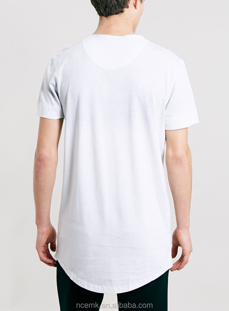 Men's Longline V-neck T-shirt Blank With Decorative Button