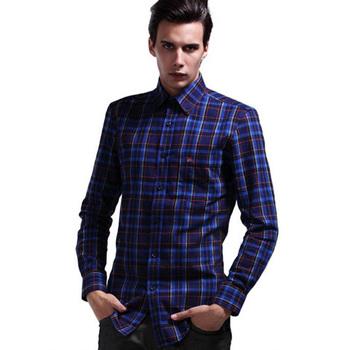 Mens Office Wear Dark Blue Plaid Shirt Men High Collar Dress Bs M112513