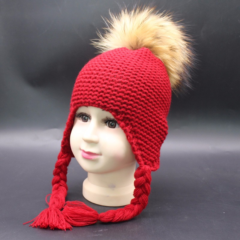 Winter Knitted Kids Handmade Crochet Baby Fur Pom Pom Hat Pattern ...