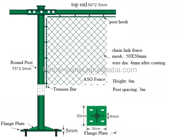Us Hot Sale Chain Link Fence Top Barbed Wire Chain Link
