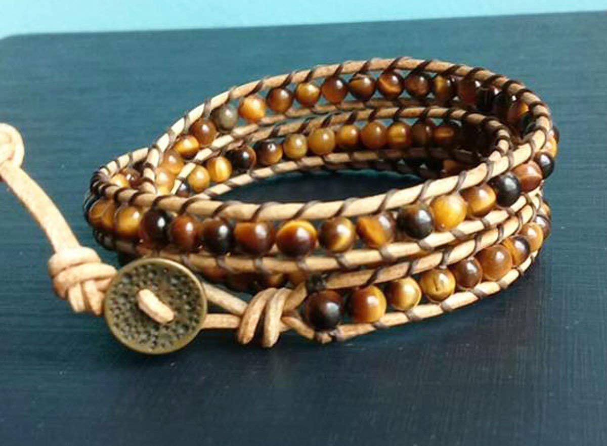 Get Quotations 3 Wrap Tiger Eye Bracelets Stone Leather Men Women Friendship Fashion