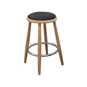 Round wooden bar chair with soft seat