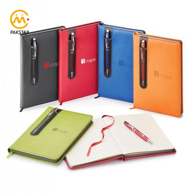 Wholesale A5 stationery diary PU leather Notebooks with pen gift set