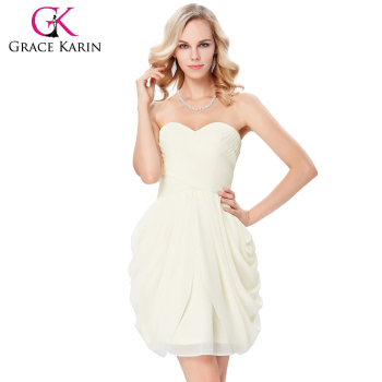 Grace Karin Strapless Sweetheart Neck Wedding Party Dress Chiffon Beige Short Bridesmaid Dress 7 Size US 4~16 GK000124-1