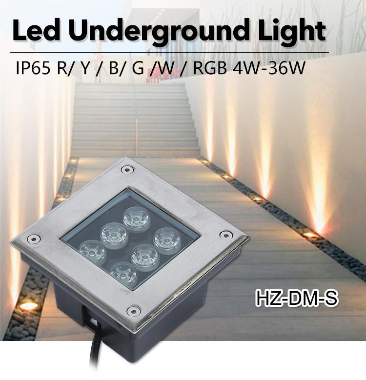 Outdoor IP67 Waterproof Aluminum  Stainless Steel RGB 4w 6w 9w 12w 15w square led underground light