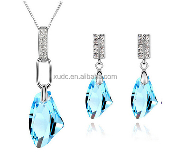 free shipping high fashion 18k gold plated jewelry set crystal necklace and earring jewelry set