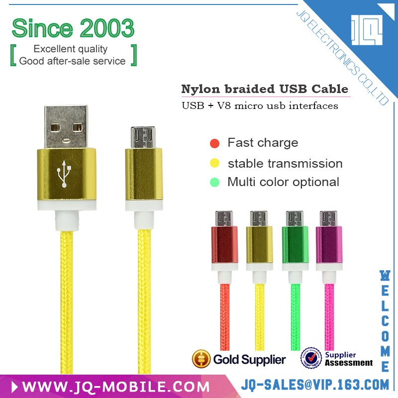 Wholesale Mobile Phone,Computer Use and Standard USB Type Nylon Fabric Braided USB Cable