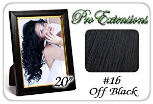 "Pro Extensions Body Wave 20"" x 39"" #1b Off Black 100% Clip on in Human Hair Extensions"