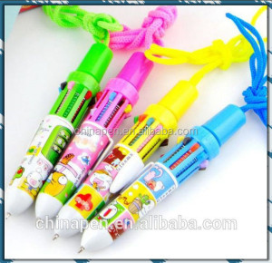 Promotional fat ball pen with cord, multi color plastic cord pen wholesale