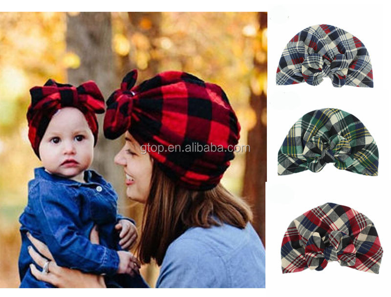 Mommy-child bow Turban Hat Stylish baby kids hat <strong>headbands</strong>