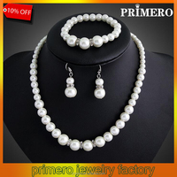 PRIMERO Fashion Imitation White Natural Freshwater pearl Jewelry Sets Rhinestone Ball Necklace Earrings Bracelet Jewelry Sets