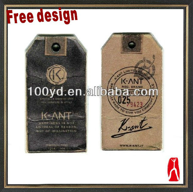 Customized Kraft Paper Hang Tags With Eyelet For Jean Garment ...