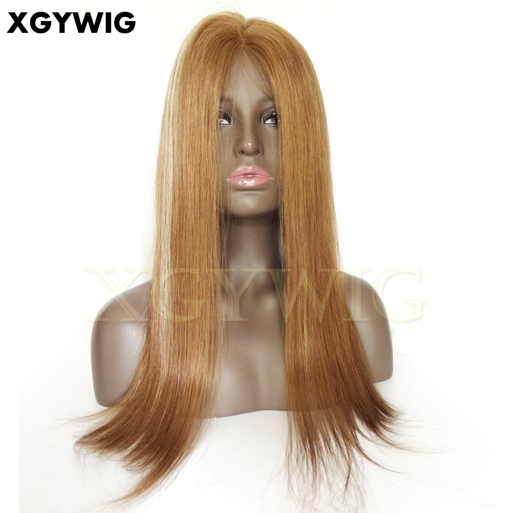 "Wholesale 20"" dark blonde highlights 150% density Virgin Brazilian human hair silky straight silicon perimeter full lace wig"