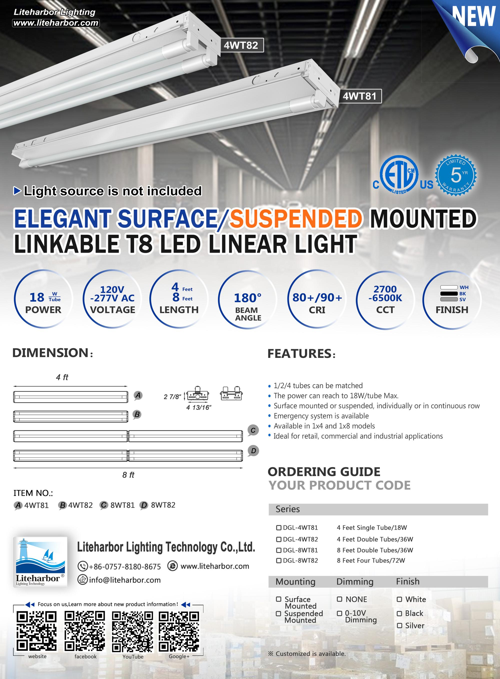 Factory Can Custom IP44 Indoor IP54 Outdoor Trunking Recessed  Linkable LED Linear Light
