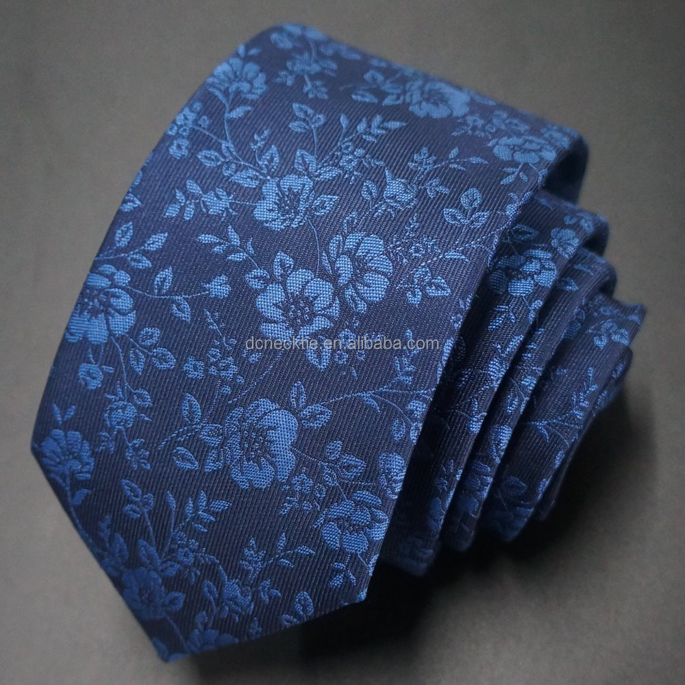 blue flower poly woven men neck ties latest fashion
