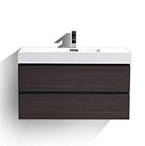 Moreno MOF 40 inch Wall Mounted Modern Bathroom Vanity with Acrylic Sink (Dark grey oak)