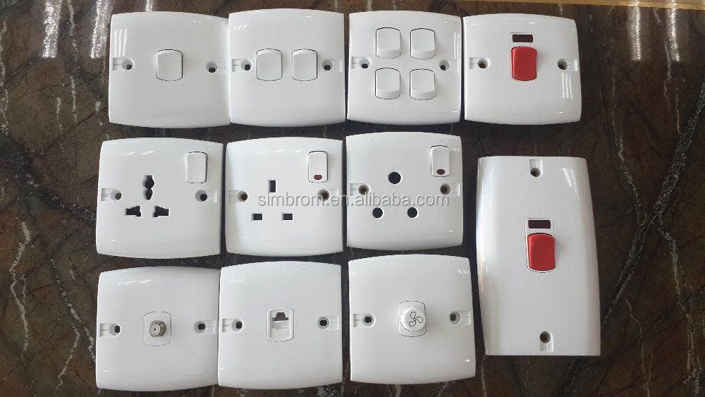 Uk 13a Socket,3 Pin Square Type Electrical Wall Socket With Switch ...
