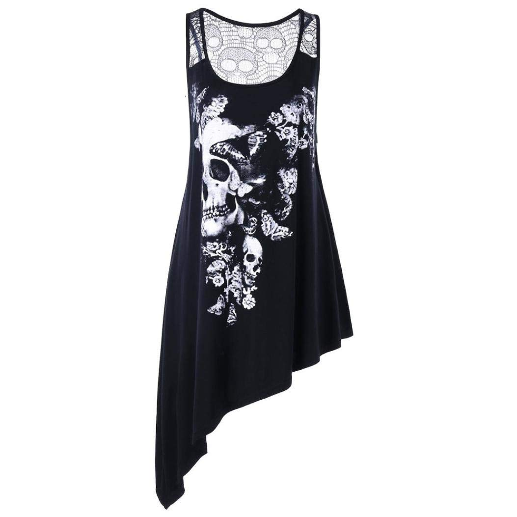 ceaac958ef96c1 Get Quotations · Clearance Forthery Women Skull Printed Tank Tops Plus Size  Sleeveless T-Shirt Blouse Lace Vest