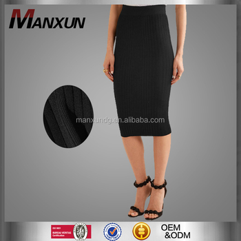 bc1fbe40f6 OEM And ODM Ladies Office Pencil Skirt Black Midi Jersey Skirt Elegant  Skirts For Women