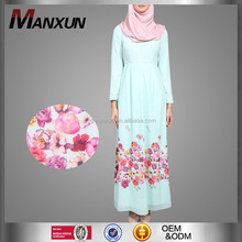 Elegant Long Dress for Muslim Women Flower Printting Fashion Abaya Turkey Design